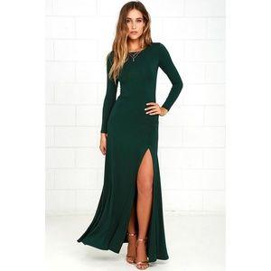 Lulu's Swept Away Forrest Green Maxi Dress Size S